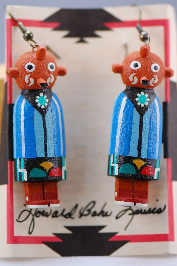 Hopi � Hand Carved Sweet Corn Mudhead Kachina Earrings by Howard Bahe Lewis