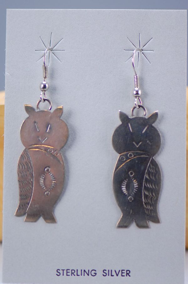 Navajo - Sterling Silver Owl Earrings by Mary McCray