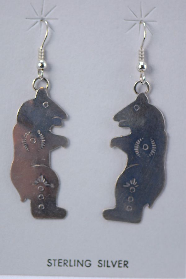 Navajo - Sterling Silver Bear Earrings by Mary McCray