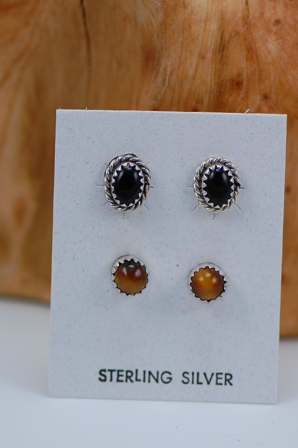 Navajo - Sterling Silver Tiger Eye and Black Onyx Earrings