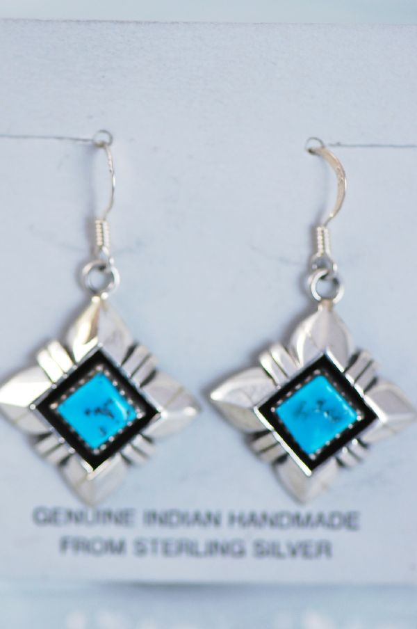 Navajo - Sleeping Beauty Turquoise Dangle Earrings