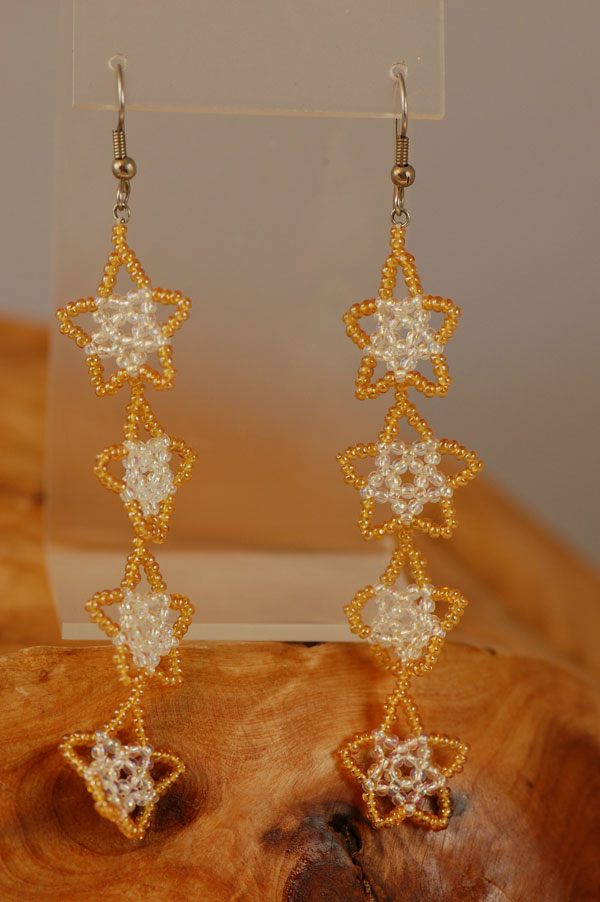 Winnebago – Yellow and White Beaded Star Earrings