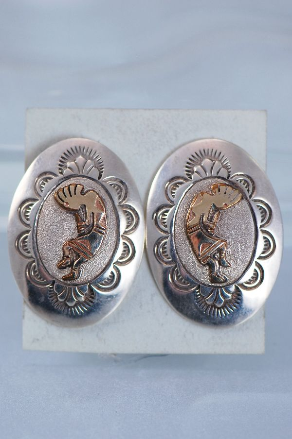 Navajo – 12ktGF and Sterling Silver Kokopelli Earrings By Sampson Gray