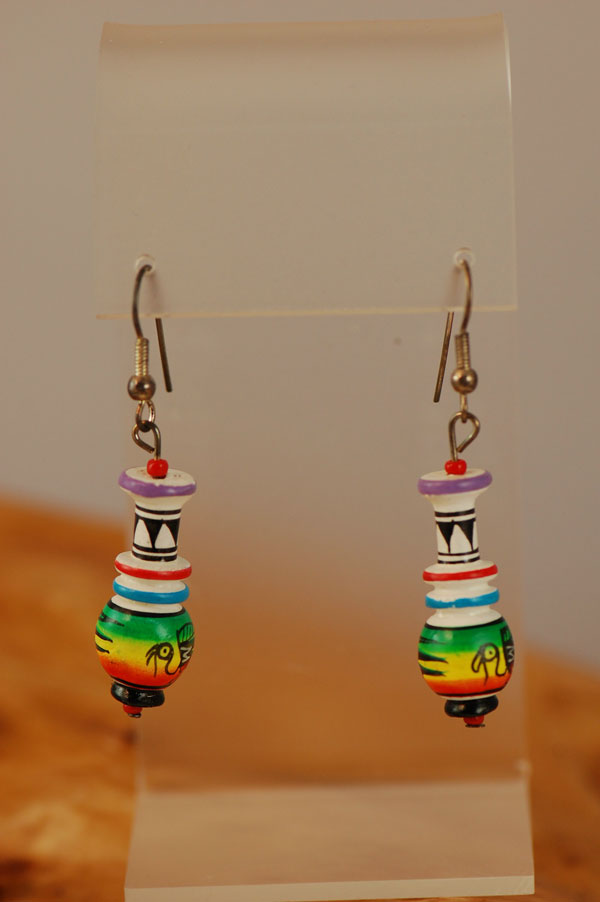 Navajo – Hand Painted Wooden Earrings by Marilyn Yesslith