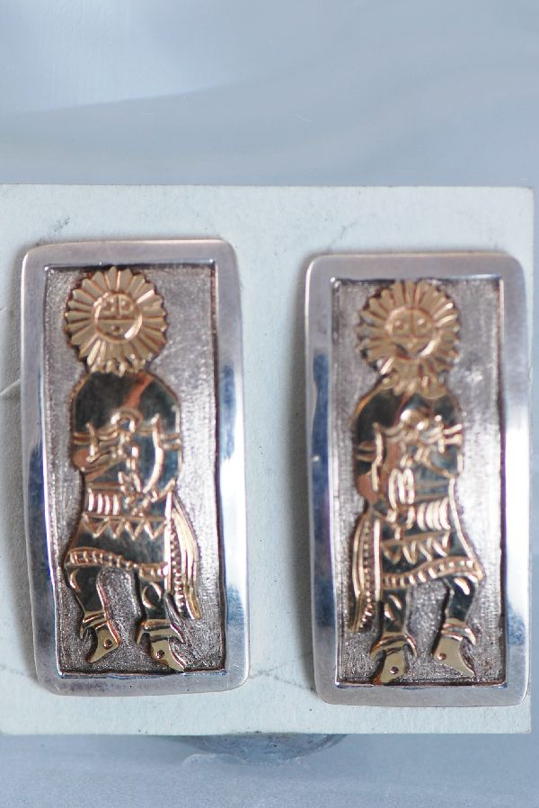 Navajo – 12ktGF and Sterling Silver Sunface Kachina Earrings by Sampson Gray