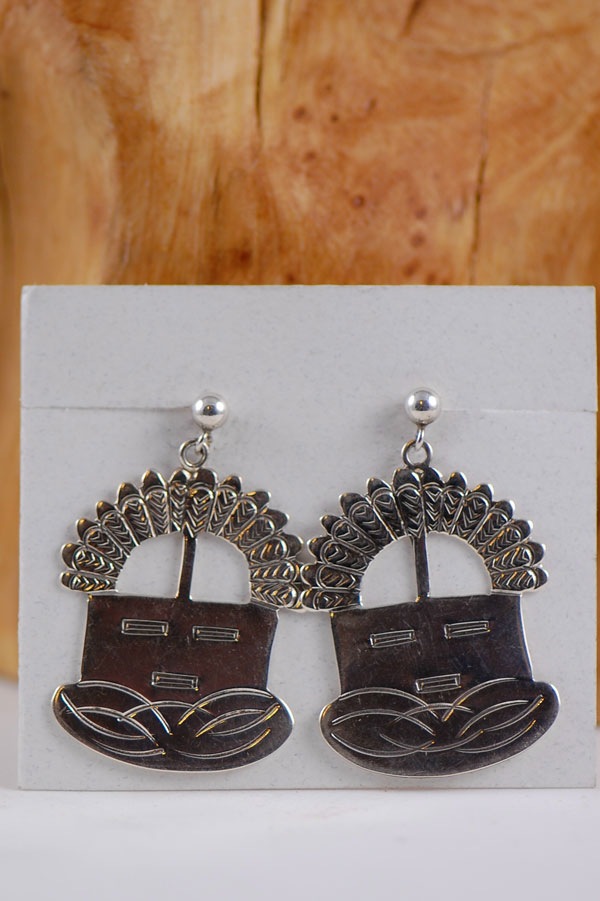 Navajo – Sterling Silver Hand Stamped Kachina Earrings by Jefferson James