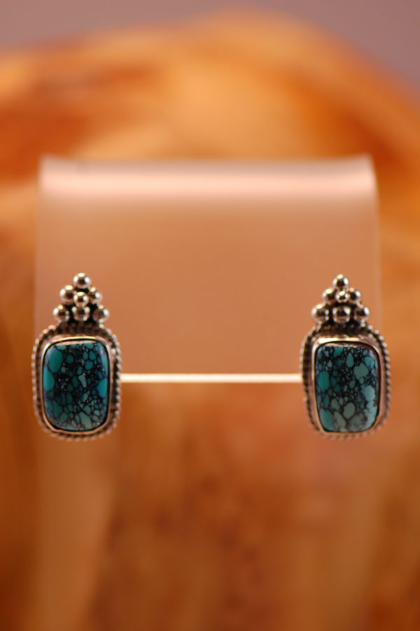 Navajo - Sterling Silver Chinese Turquoise Earrings by Fritson Toledo