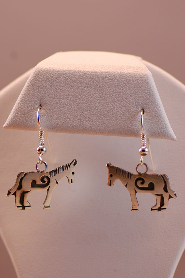 Navajo - Sterling Silver Horse Earrings by Stanley Gene