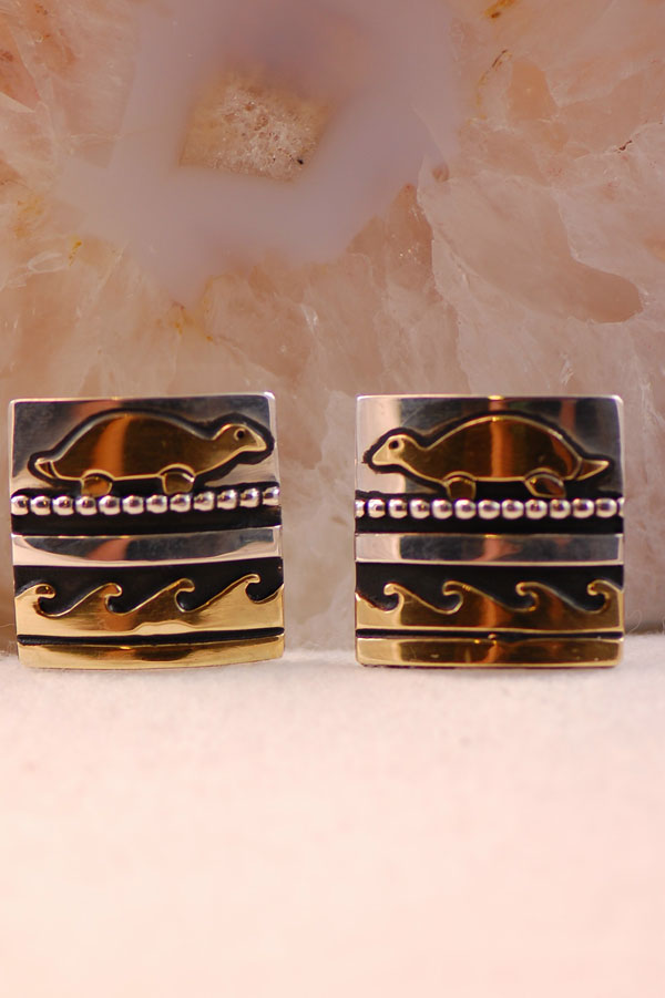 Navajo – 12ktGF and Sterling Silver Turtle and Water Symbol Earrings by Tommy Singer