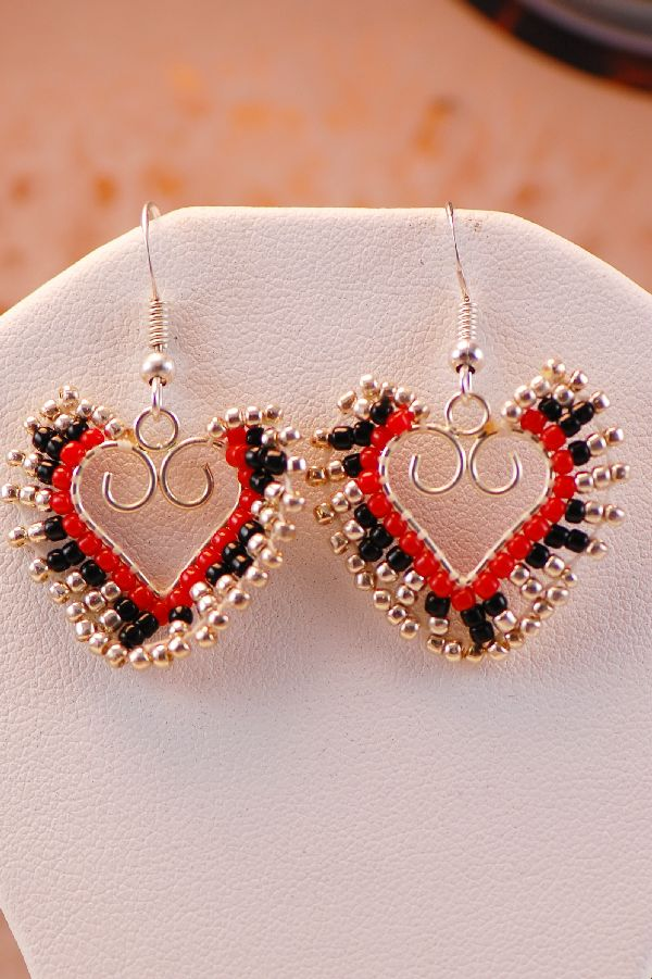 Navajo – Beaded Heart Earrings by Rose White