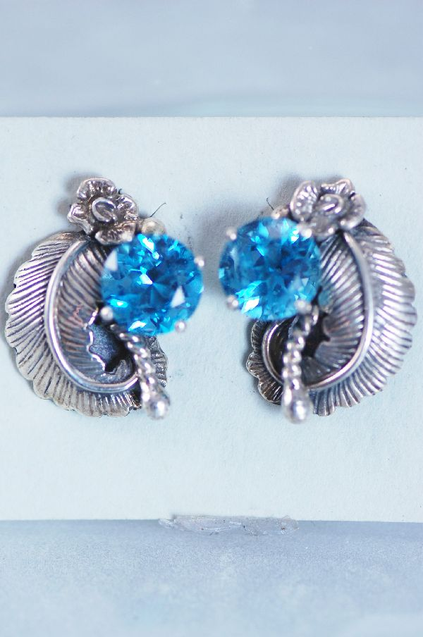 Les Baker – Blue Topaz Sterling Silver Post Earrings