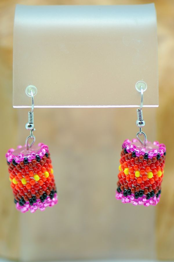 Navajo – Beaded Drum Earrings by L. Begay