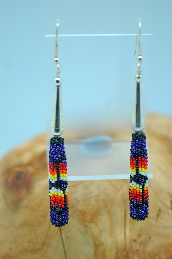 Navajo – Long Beaded Earrings by Lucille Ramone