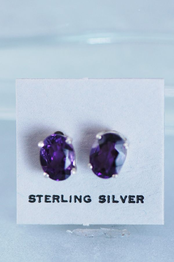 Natural Brazilian Amethyst Earrings