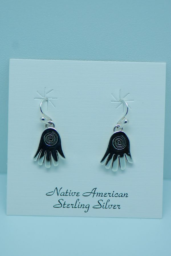 Navajo – Sterling Silver Hand Earrings by the Mace Family