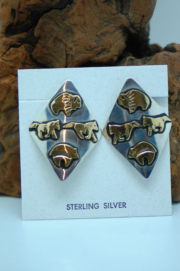 Navajo – 12ktGF and Sterling Silver Overlay Spirit Line Bear, Horse, and Buffalo Earrings by Tommy Singer