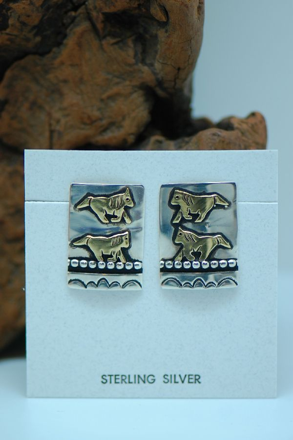 Navajo – 12ktGF and Sterling Silver Overlay Horse Earrings by Tommy Singer