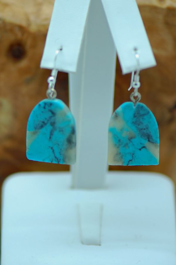 Navajo – Kingman Turquoise Earrings by Duwayne Turpen