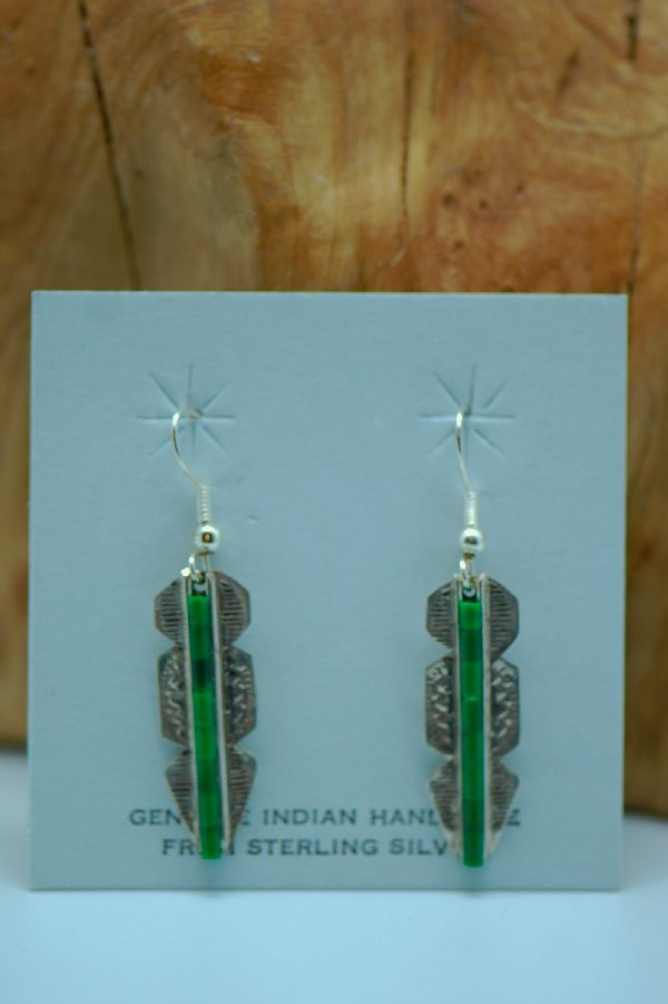Navajo – Sterling Silver Malachite Heishi Earrings by Alvin James