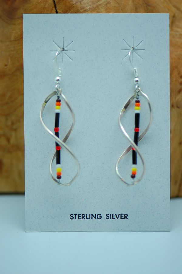 Navajo – Multi-Colored Seed Bead Sterling Silver Earrings by Delbert Begay