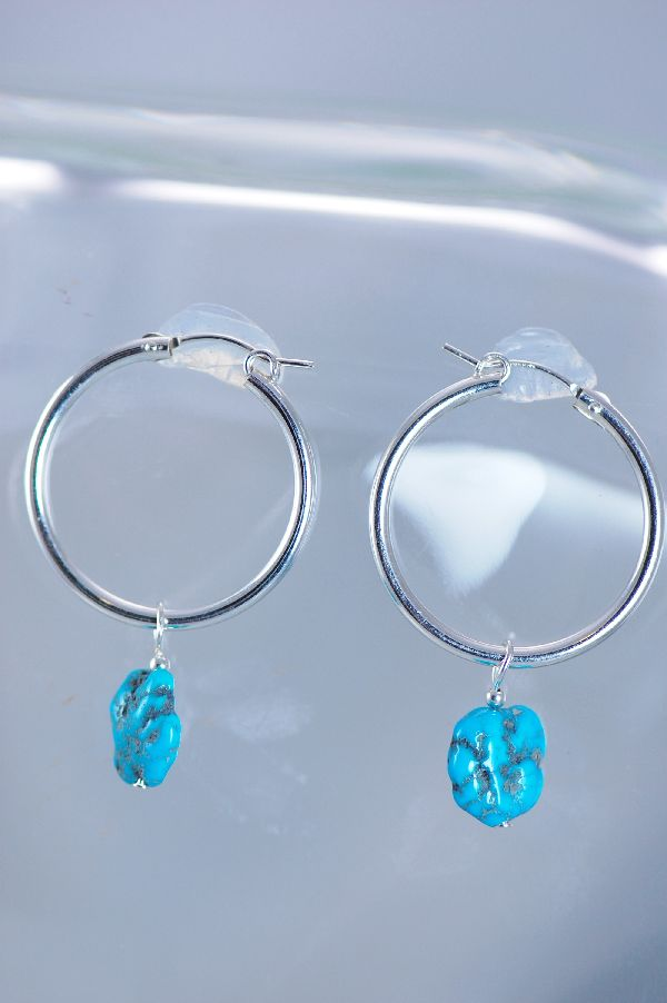 Navajo – Sleeping Beauty Turquoise Sterling Silver Hoop Earrings