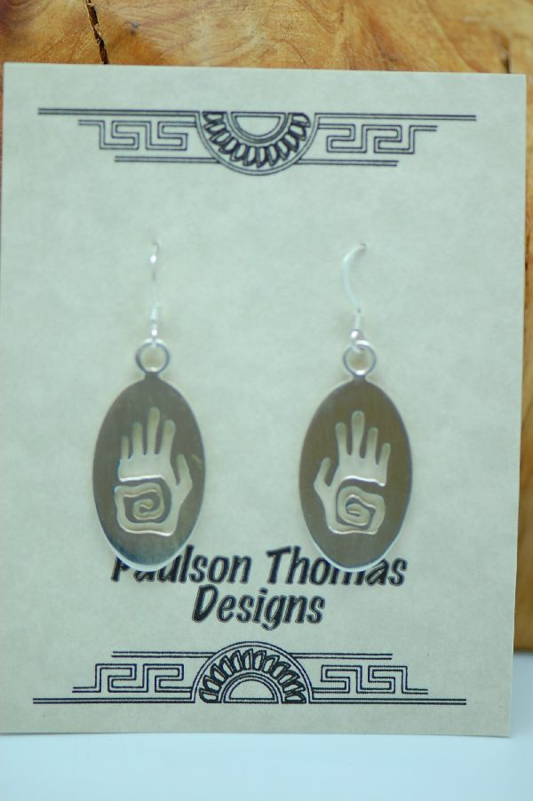 Navajo – Sterling Silver Hand Symbol Earrings by Paulson Thomas