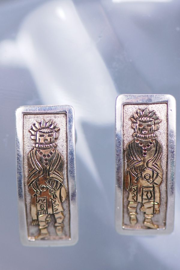 Navajo – Sterling Silver and 12ktGF  Morning Singer Kachina Clip-on Earrings by Sampson Gray