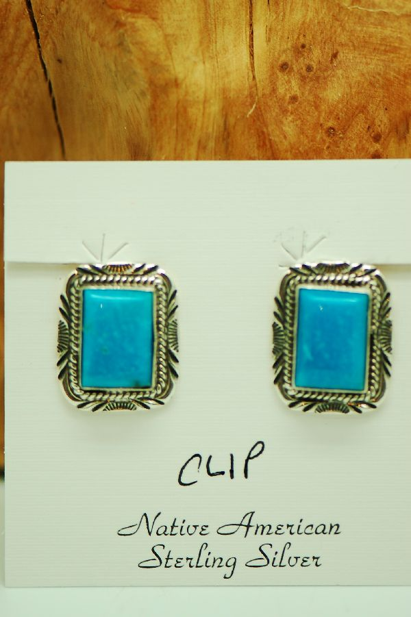 Navajo – Sterling Silver Kingman Turquoise Clip-On Earrings by Will Denetdale