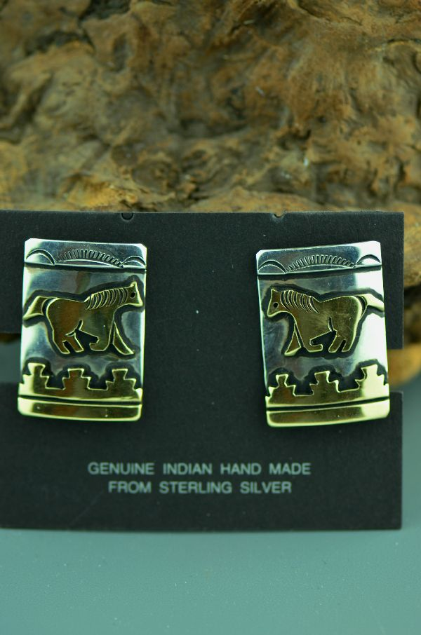 Navajo – 12ktGF and Sterling Silver Horse with Mountain and Sun Ray Symbols Clip On Earrings by Tommy Singer