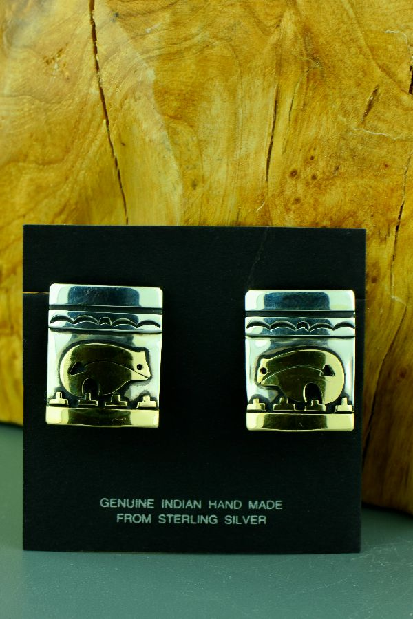 Navajo – 12ktGF and Sterling Silver Spirit Line Bear Clip On Earrings by Tommy Singer