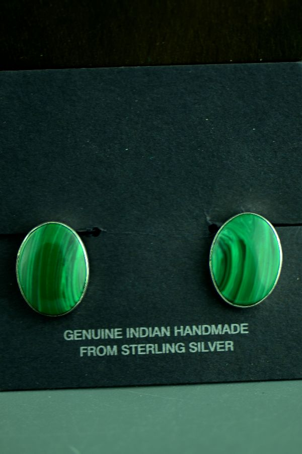 Navajo Sterling Silver Malachite Clip-on Earrings by Amos Begay