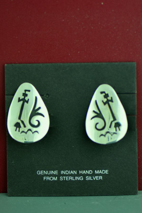 Navajo Sterling Silver Water and Yei Be Che Kachina Symbol Clip-on Earrings by the late Tommy Singer