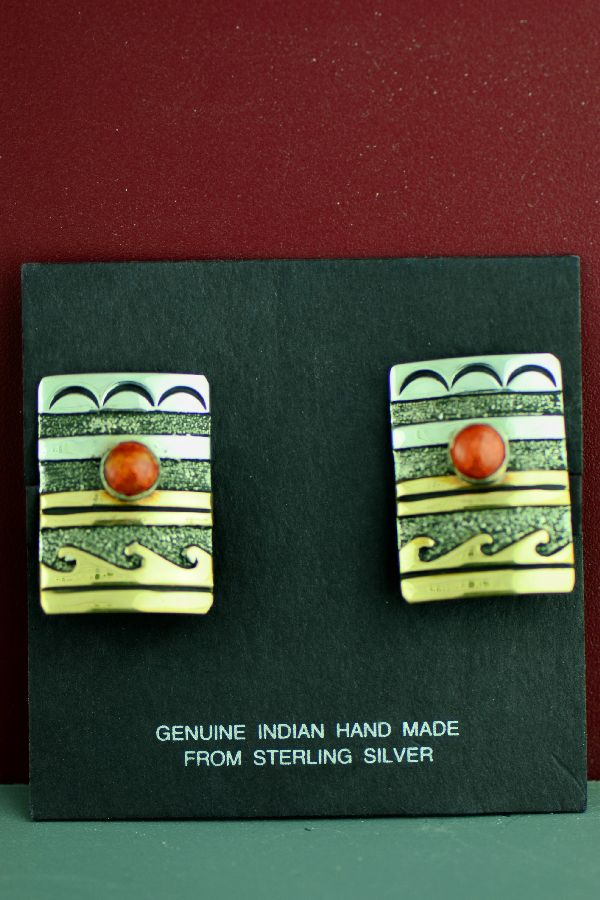 Navajo 12ktGF and Sterling Silver Apple Coral and Water Symbol Clip On Earrings by the late Tommy Singer
