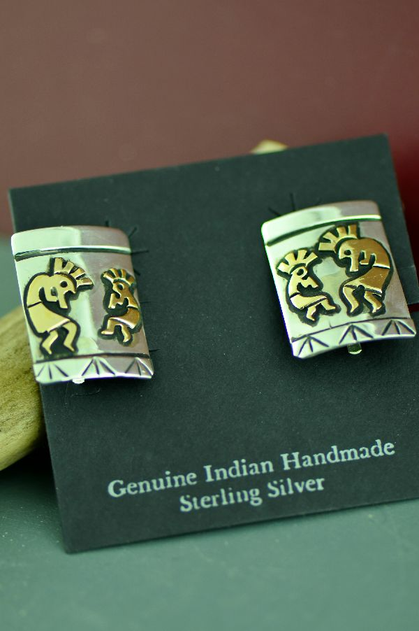 Navajo 12ktGF and Sterling Silver Kokopelli Clip On Earrings by the late Tommy Singer