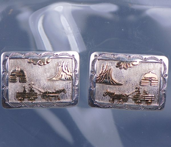 "Navajo – Sterling Silver and 12ktGF ""Navajo Story"" Clip-on Earrings by Sampson Gray"