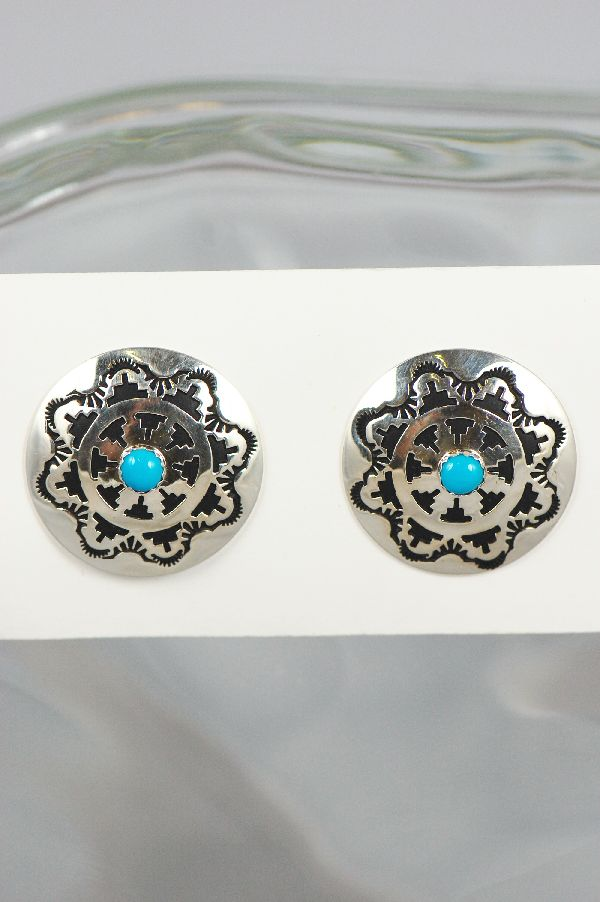 Navajo - Sterling Silver Clip-on Earrings with Turquoise by Joanne and Felix Tsinijinnie