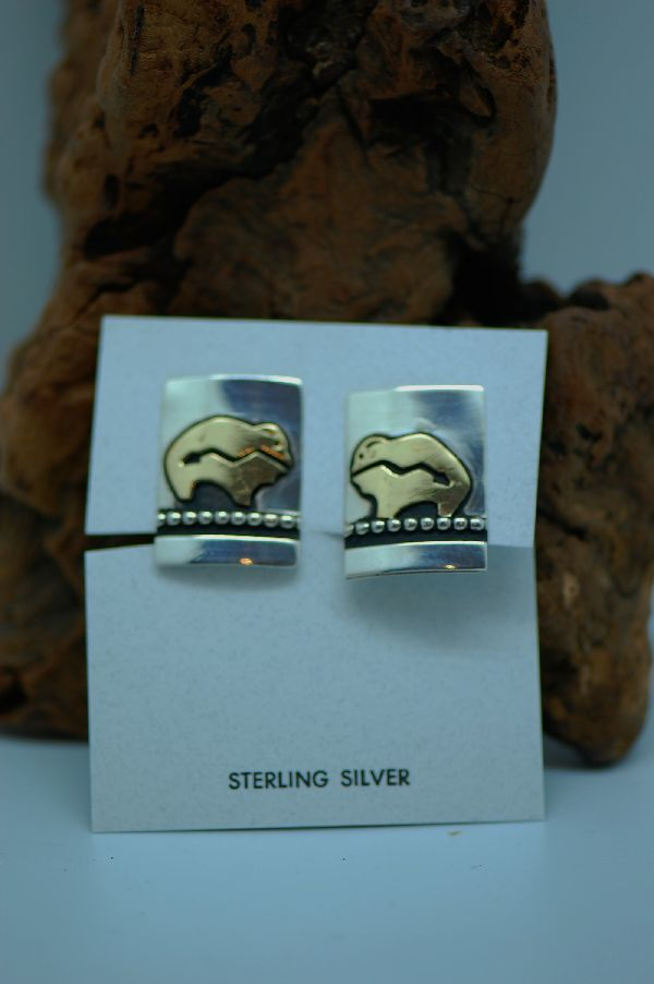 Navajo – 12ktGF and Sterling Silver Overlay Spirit Line Buffalo On Earrings by Tommy Singer