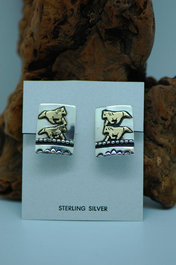 Navajo – 12ktGF and Sterling Silver Overlay Horse Clip On Earrings by Tommy Singer