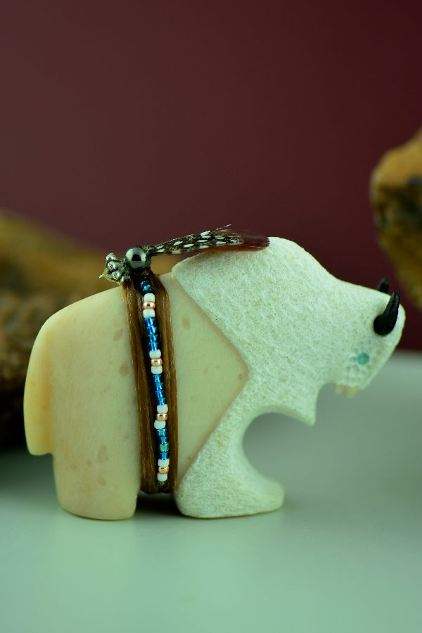 Navajo – Hand Carved Utah Alabaster Buffalo Fetish by Harold Davidson