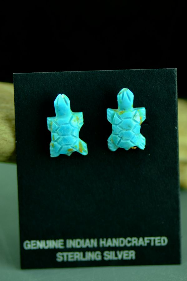 Navajo Hand Carved Kingman Turquoise Turtle Fetish Earrings by Christopher McCabe
