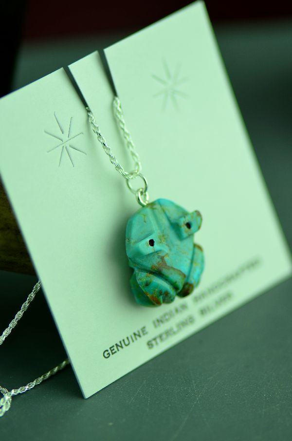 Navajo Hand Carved Kingman Turquoise Frog Fetish Pendant by DuWayne Turpen
