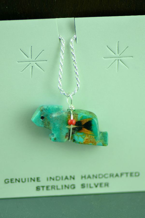 Navajo Hand Carved Kingman Turquoise Rabbit Fetish Pendant by DuWayne Turpen