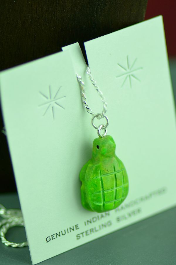 Navajo Mohave Green Turquoise Turtle Fetish Pendant by DuWayne Turpen