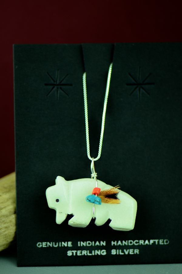 American Indian White Marble Buffalo Fetish Pendant by DuWayne Turpen