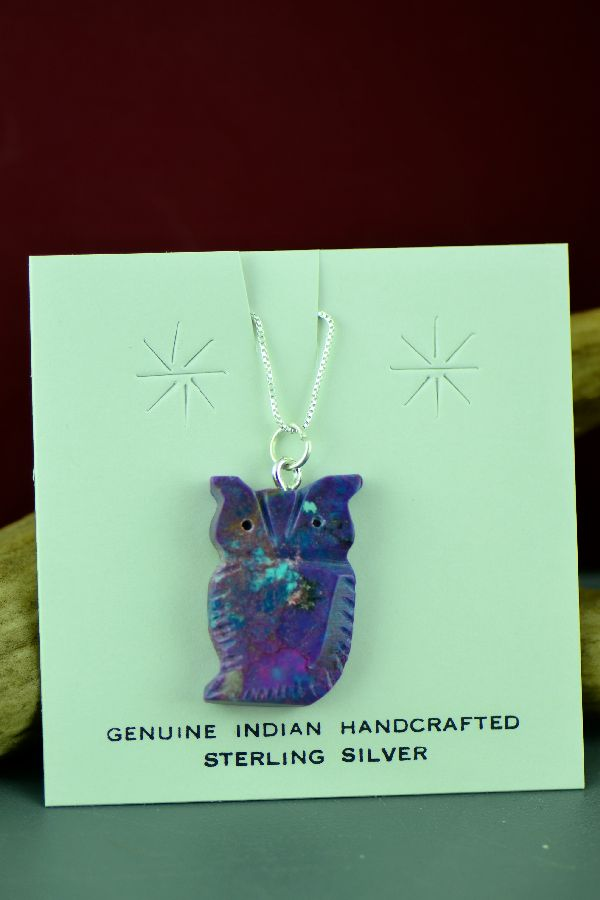 Mohave Purple Turquoise Owl Fetish Pendant by DuWayne Turpen