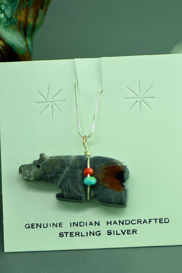 Navajo Hand Carved Picasso Marble Bear Fetish Pendant by DuWayne Turpen
