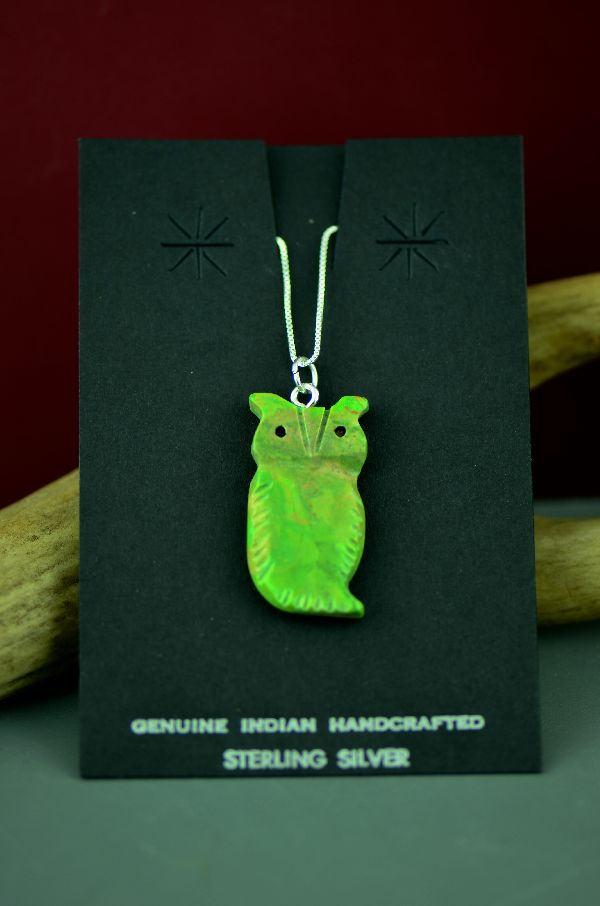 Navajo Green Mohave Turquoise Owl Fetish Pendant by DuWayne Turpen