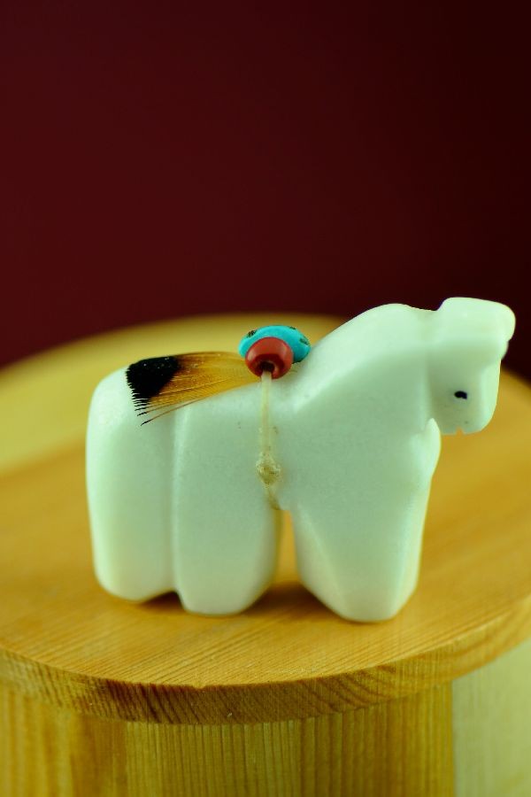 Navajo Hand Carved White Marble Horse Fetish by DuWayne Turpen