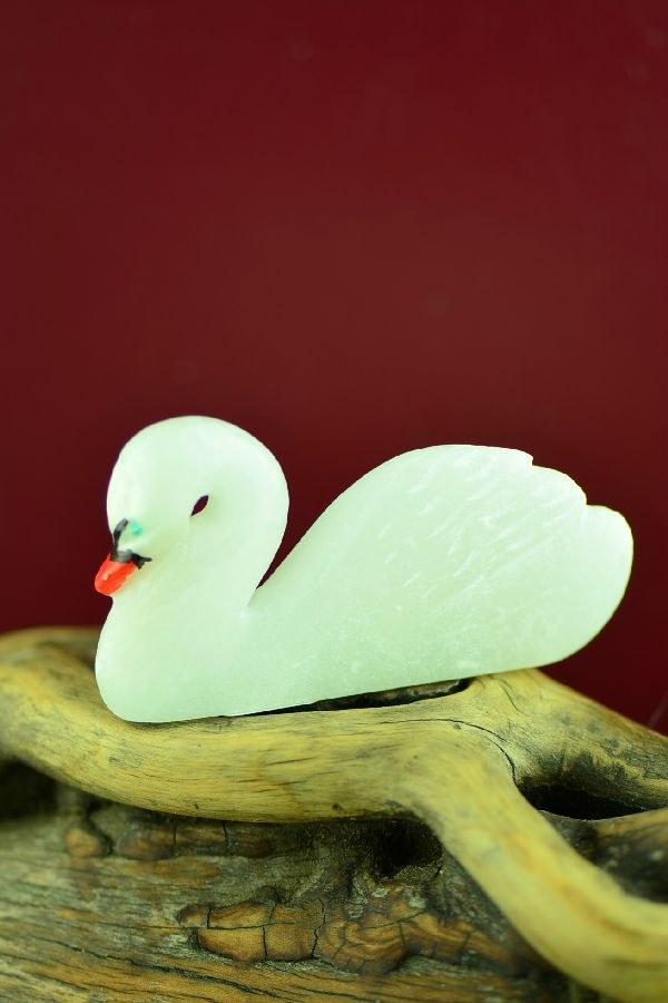 Zuni Hand Carved Alabaster Swan Fetish by Hubert Pincion