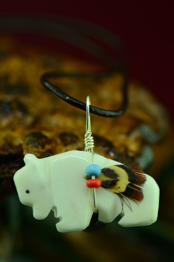 Navajo Hand Carved White Marble Buffalo Fetish Pendant by DuWayne Turpen